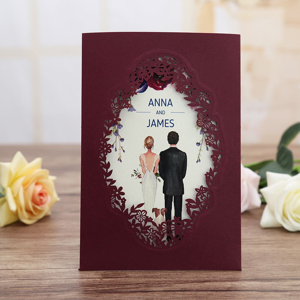 Engagement 100pcs Burgundy Pink Navy Blue Gold Vertical Laser Cut  Anniversary Party Wedding Invitation