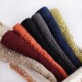 2016 Más Nuevas Mujeres de Encaje Floral Patrón de Bufanda de Algodón Bufanda del Color Sólido de Las Mujeres de Calidad 8 Colores 10 unids/lote