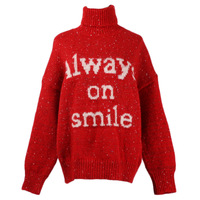 GRUIICEEN winter letter pattern christmas sweater oversized turtleneck pullovers knitted jumper GY2018551
