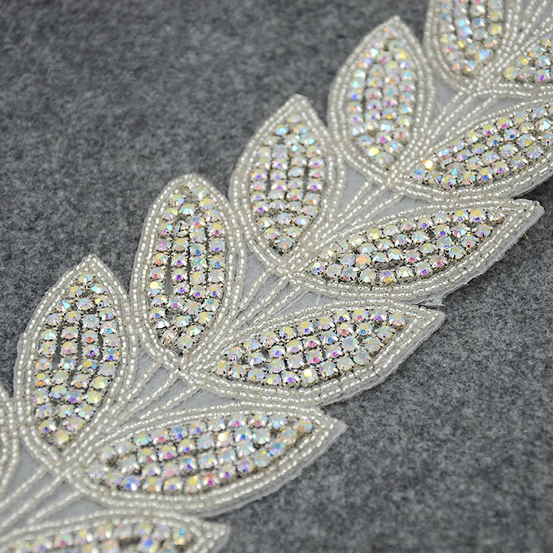 3cc1fce1fb Leaves shape AB crystal bridal rhinestone beaded applique trim for wedding  dress sash DIY iron on-in Patches from Home & Garden on Aliexpress.com   ...