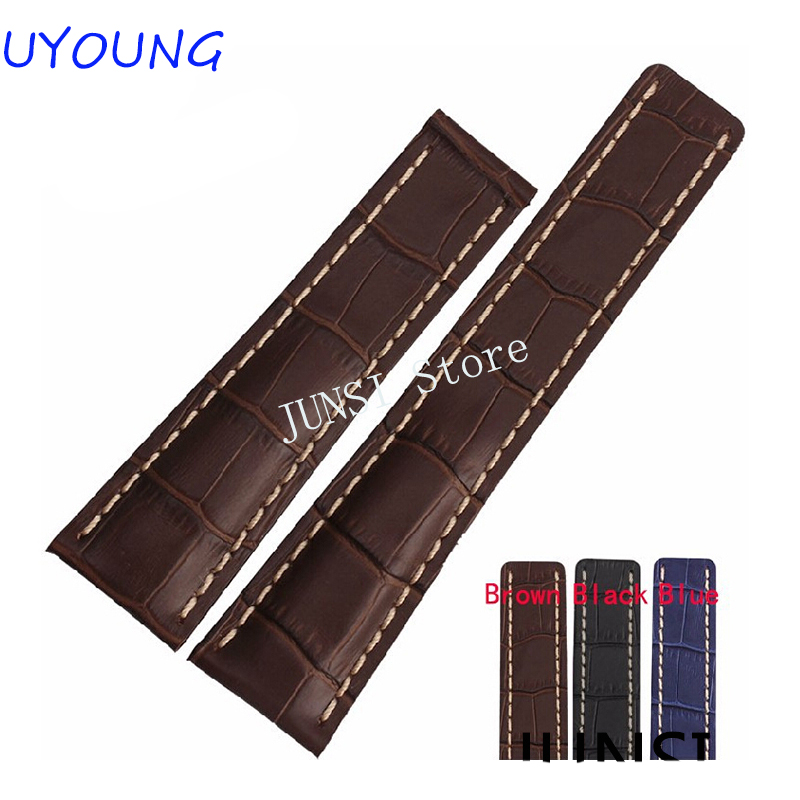 Free shipping 22mm 24mm New Mens Top Grade quality Blue Brown Black Crocodile Pattern Genuine Leather Watch Strap Bracelets