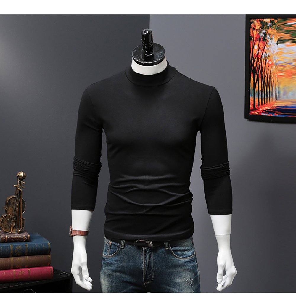 2018 style mens high neck sweater long sleeve t shirt basic plain turtleneck t shirts Autumn Winter keep warm Solid color