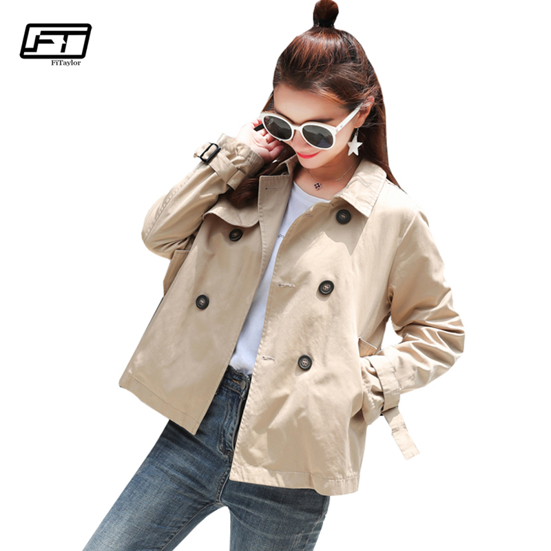 Fitaylor Trench Coat 2018 Spring Autumn Women Coats Loose Casual Turn-down Collar Double Breasted Female Short Outerwear