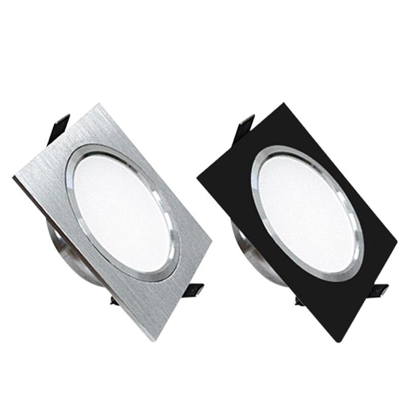Светодиодный светильник, 3 Вт, 5 Вт, 7 Вт, квадратный Точечный светильник, лампа AC110V, 240 в, Диммируемый Светильник, s, светодиодный светильник для шкафа, черный/серебристый