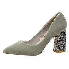 Hot Sale New Bling Square Heels Fashion Women Sequins Classic Pumps Flock High Heels Sexy Pointed Toe Shoes Plus Size K0024 цены онлайн
