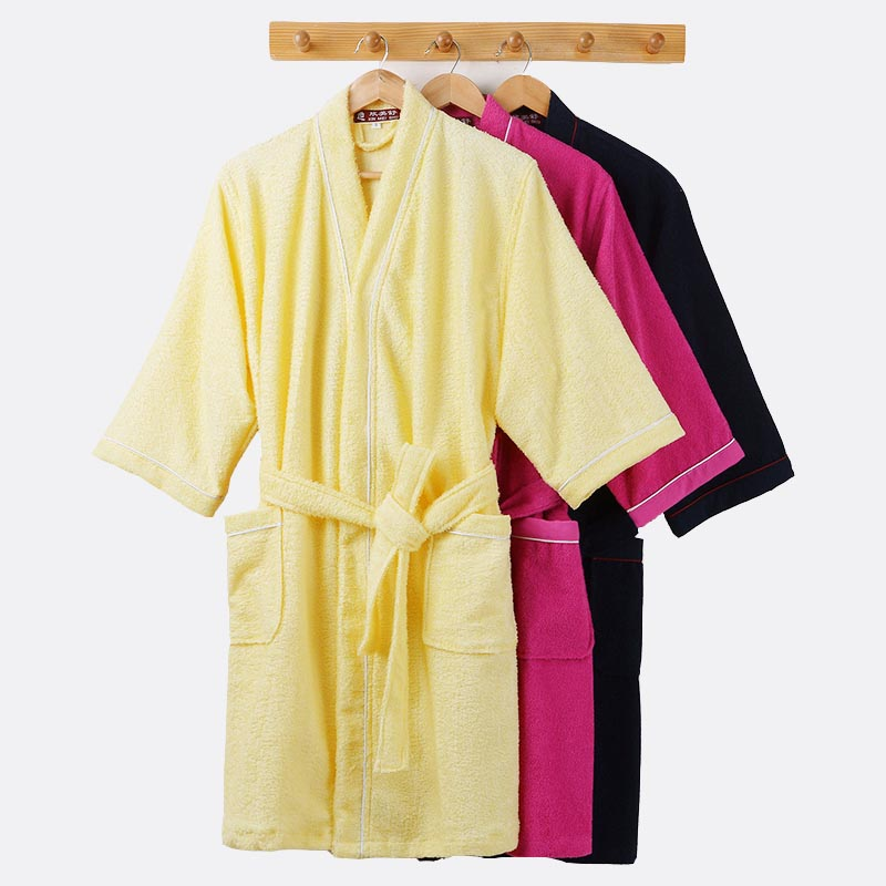 Men's Kimono Bathrobe Cotton Robes Plus Size Lightweight Long Robe For Men Absorption After Shower Bathrobe Sleepwear