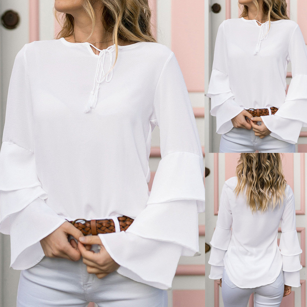 Fashion Women's Bell Sleeve Loose Tassel solid color Round neck Shirt Women's Casual Shirt Tops ropa mujer#30