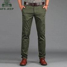 AFS JEEP Casual männer Hosen Frühjahr/Sommer Dünne Hosen Slim Fit 97% Baumwolle Solide Gerade pantalon homme Plus größe 29-42