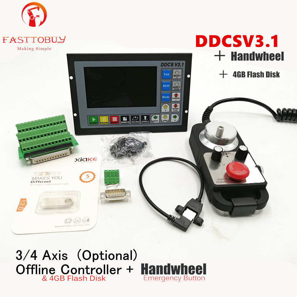 Upgraded DDCSV3.1 3/4 axis 500KHz G-Code Offline Controller+Handwheel All Metal Cases DDCS V3.1 Replace Mach3 USB CNC Controller