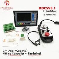 Upgraded DDCSV3.1 3/4 axis 500KHz G Code Offline Controller+Handwheel All Metal Cases DDCS V3.1 Replace Mach3 USB CNC Controller
