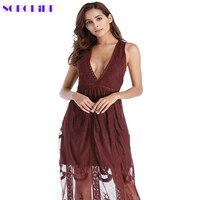SORCHIDF Sexy Chic Hollow Out Lace Dress Women Winter High Waist Sleeveless Slim Dress Elegant Party
