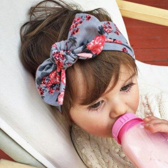Kids Girls Flower Hair Accessories Cool Printing Flower Knot DIY Cotton  Kids Headband Turban scrunchy Wrap e975179d3c8