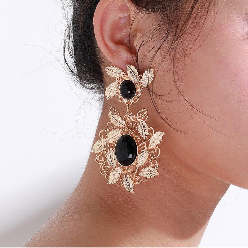 2019 nouvelle marque de bijoux personnalité Hyperbole alliage feuille couronne boucles d'oreilles mode femme caractère boucles d'oreilles rue Photo ornements