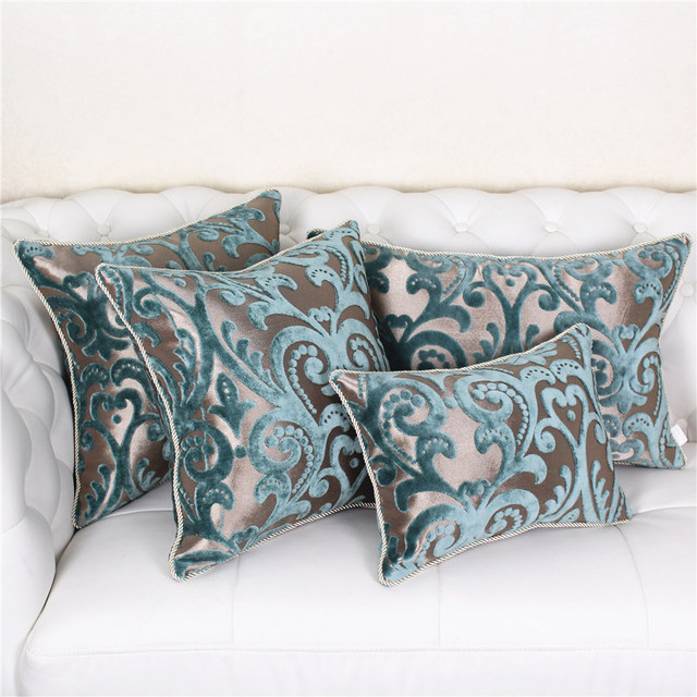 European Luxury Pillow Case Blue Decorative Throw Cover Couch Chair Cushion Home Decor Not Including Filling