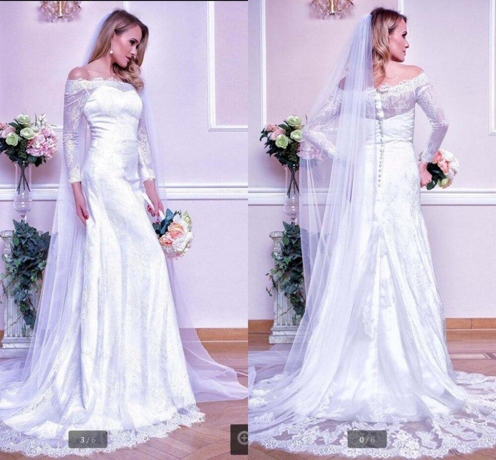 2017 White Lace Elegant Modest Mermaid Wedding Dress Off