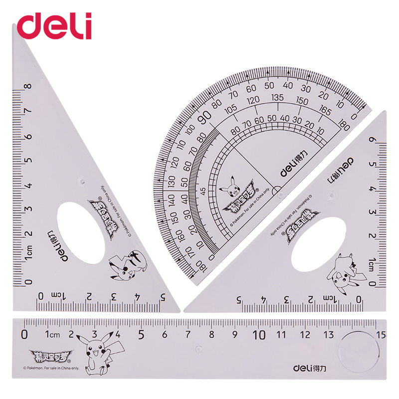 Deli 2018 Pokemon Pikachu Cartoon Cute Creative Triangle Ruler Protractor Drawing Template Chancery Plastic Ruler For Patchwork