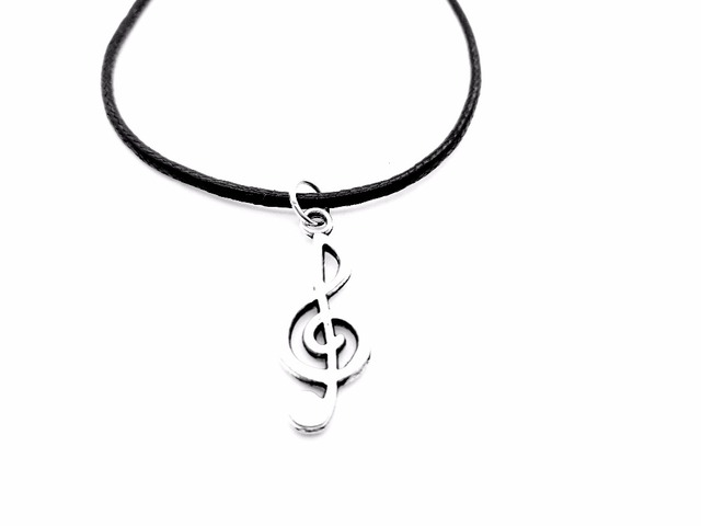 1pcs simple musical note necklace music notation theme pendant 1pcs simple musical note necklace music notation theme pendant necklace music symbol treble clef leather aloadofball Choice Image