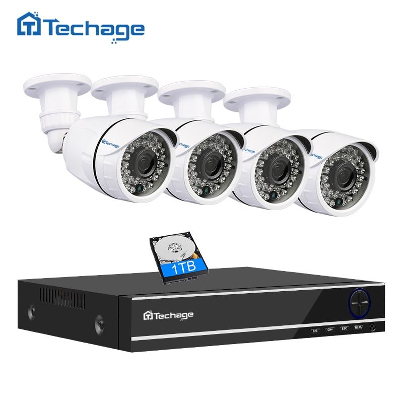 Techage 5 IN 1 4CH 1080P Security AHD DVR NVR CCTV System 2 0MP 3000TVL Weatherproof