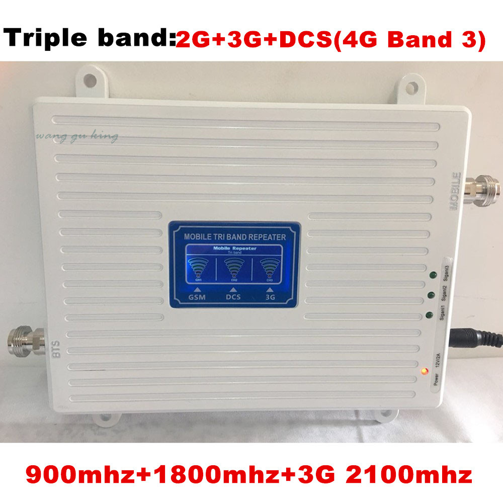 Gain 70dB 2G 3G 4G Tri Band Mobile Signal Booster Repeater for GSM 900MHz+DCS LTE 1800MHz+WCDMA UMTS 2100MHz with LCD DisplayGain 70dB 2G 3G 4G Tri Band Mobile Signal Booster Repeater for GSM 900MHz+DCS LTE 1800MHz+WCDMA UMTS 2100MHz with LCD Display