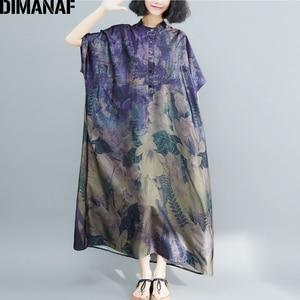 Image 3 - DIMANAF Plus Größe Frauen Kleid Vintage Große Größe Weibliche Vestido Sommer Sommerkleid Lose Drucken Floral Dame Elegante Lange Kleid 5XL 6XL