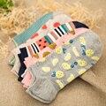 Graffiti mujeres algodón calcetines transparentes piña plátano fruta sandía refrescante summer sox fino zapatillas calcetín femenino 5 color
