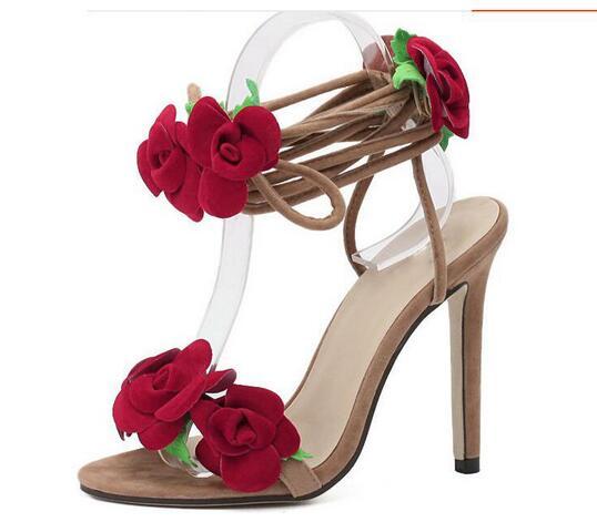 Summer Red Flower Women Sandals Gorgeous Women Thin High Heel Pumps Ankle Strap Sandals Party Dress Sandal Female Shoes B039