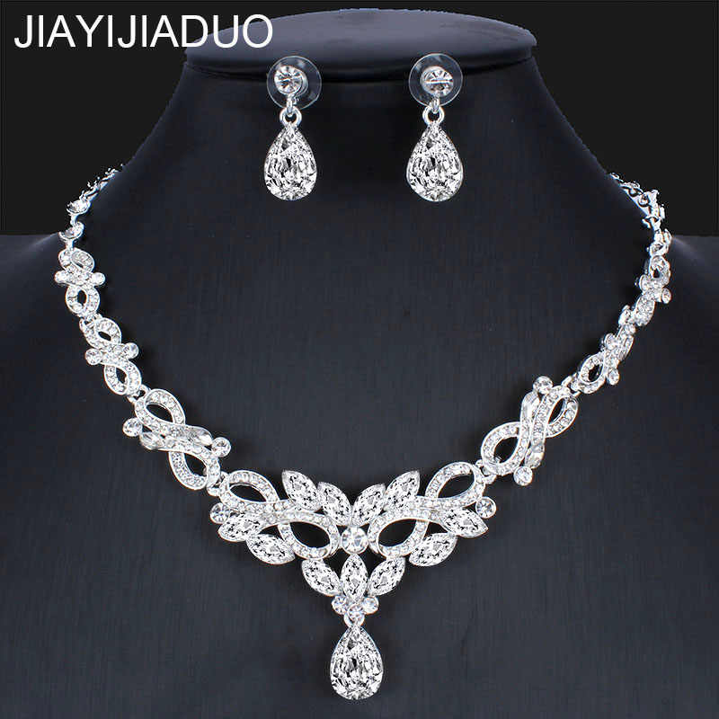 jiayijiaduo  Fashion Silver Color Necklace Earring Set for Bridal Women's Wedding Dress Accessories dropshipping