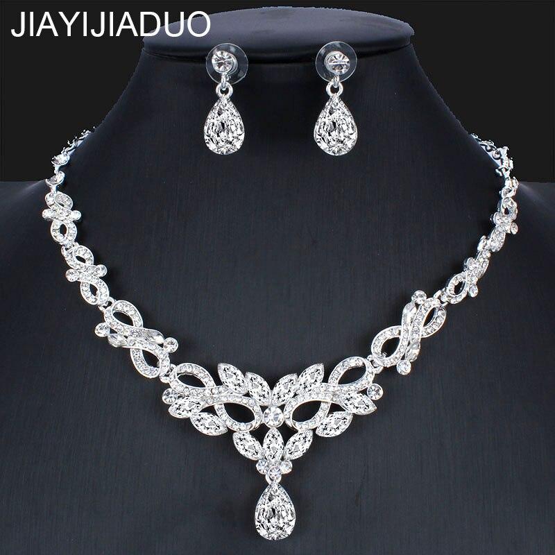 Jiayijiaduo Mode Silber Farbe Halskette Ohrring Set Für Braut Frauen Hochzeit Kleid Zubehör Dropshipping Gut Verkaufen Auf Der Ganzen Welt Brautschmuck Sets