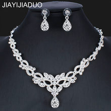 jiayijiaduo Fashion Silver Color Necklace Earring Set for Bridal Women's Wedding Dress Accessories dropshipping(China)