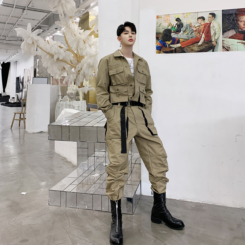 Men's Clothing Men High Street Hip Hop Casual Long Sleeve Jumpsuit Cargo Pant Male Streetwear Overalls Couple Clothes Jumpsuit Harem Trousers