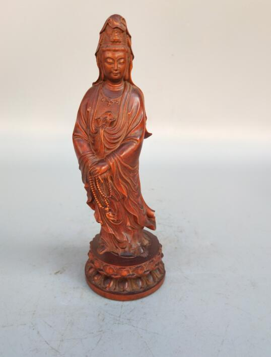 Chine sculpture sur bois Guanyin bodhisattva bouddha artisanat statue