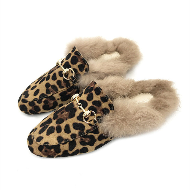 ec5b7f8b6bef Big size 35-41 Genuine Leather Brand Designers Sexy Leopard Flat Flock  Slippers Woman Shoes Slip On Loafers Mules Flip Flops