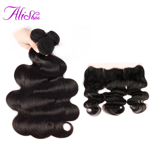 Alishes Body Wave Bundles With 13x6 Lace Frontal Closure Ear To Ear Non Remy Brazilian Human Hair Weave 3 Bundles With Frontal