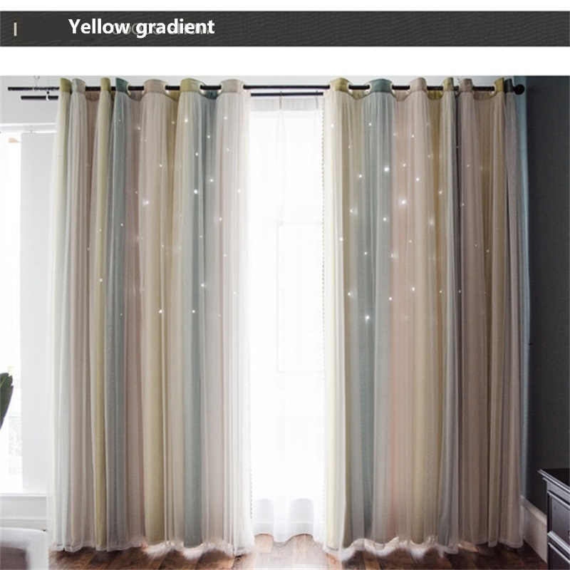 Modern Nordic Striped Gradient Blackout Curtains For Living Room Princess Style Hollow Stars Romantic Bedroom Cortina L017&4