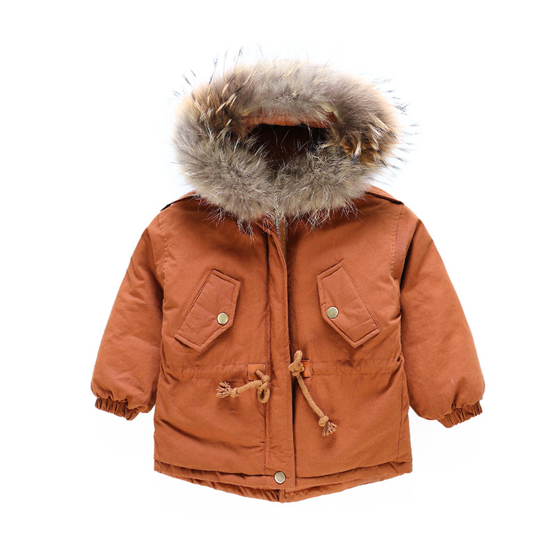 2018 Children Outerwear Baby Girls Thicking Cotton-padded Hooded Coats boys Winter Jacket Fur Collar Down & Parkas For Girls Boy цена