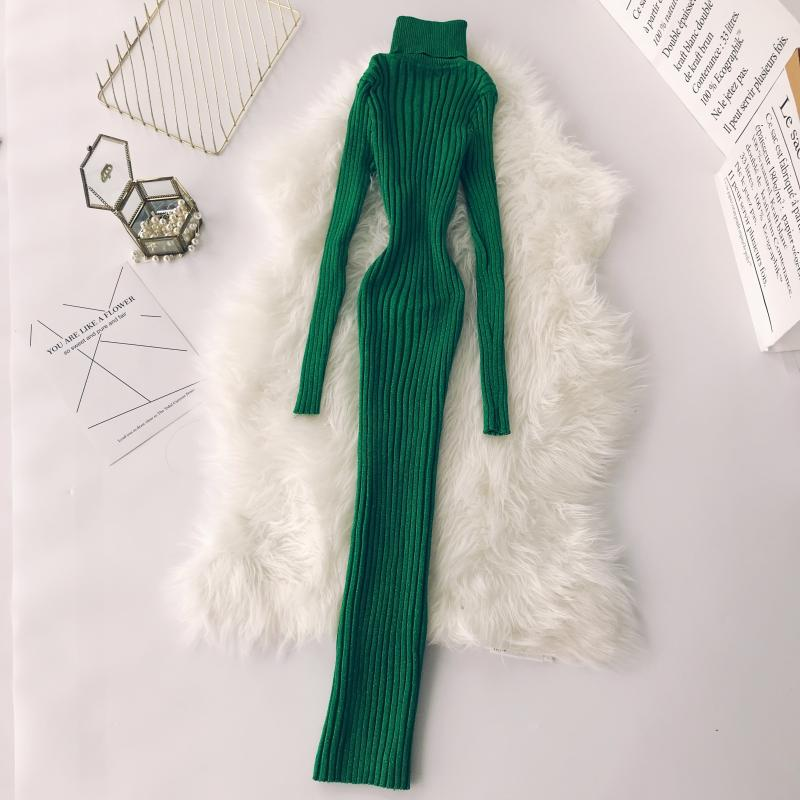 2018 Winter new female High Neck Long Sleeve Pack Hip Long Bright Silk Knitted Dress women's elegant solid color sweater dresses