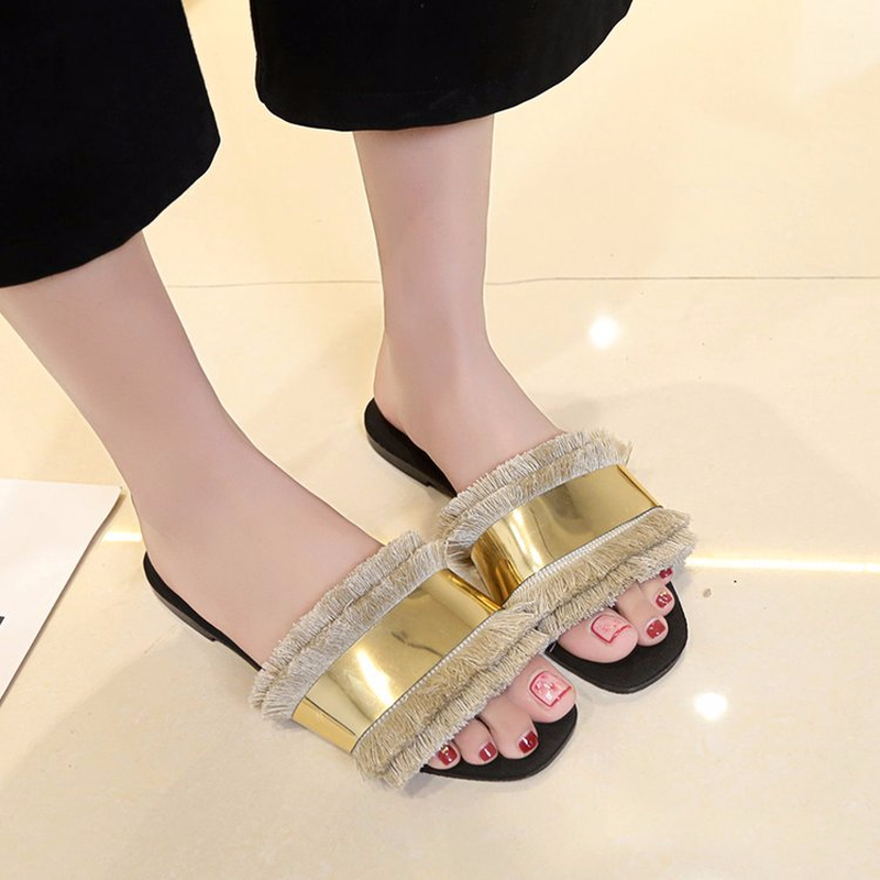 2018 Summer New Arrived Fringe Sequined Women Outside Slippers Top Quality Cloth Insole Comfort Office Slippers Home Casual Shoe