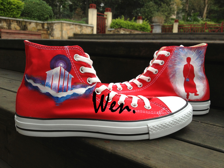 7fb9549eb5 Wen Hand Painted Casual Shoes Custom Design Doctor Who Logo DW Red High Top Women  Men s Canvas Shoes Christmas Birthday Gifts