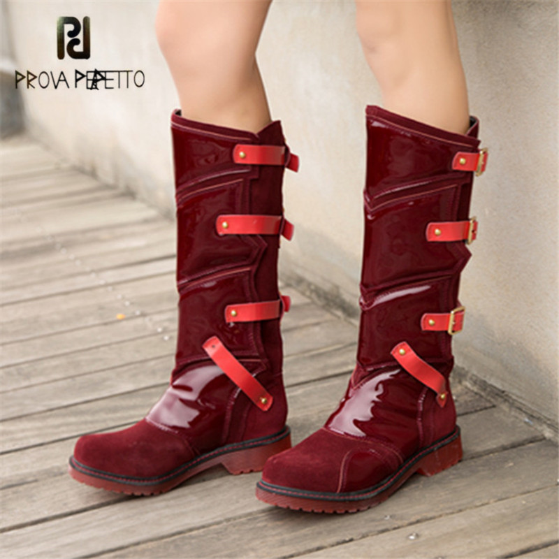 Prova Perfetto Punk Style Women Martin Boots Platform Flat Botas Mujer Straps Buckles Rubber Shoes Woman Knee High Boots prova perfetto punk style women martin boots platform flat botas mujer straps buckles rubber shoes woman knee high boots