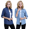 Plus size spring 2017 women female thin denim shirt long-sleeve top outerwear blouse