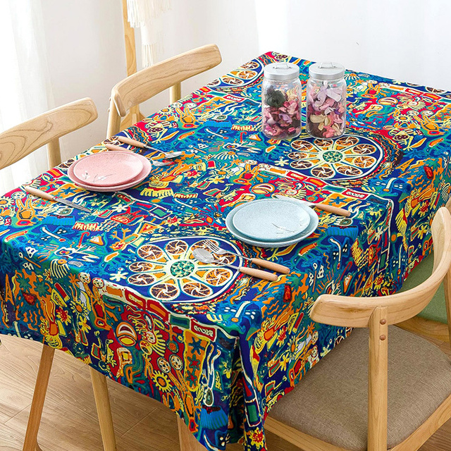 Colorful Southeast Asian Nation Wind Cotton And Linen Tablecloth For  Dinning Table Tea Tables Table Cloth