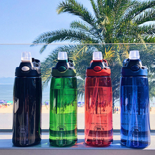 700ml Plastic straw fitness water bottle drink Outdoor Sport Water Bottles Camping Travel Running Bottle Handle bottles