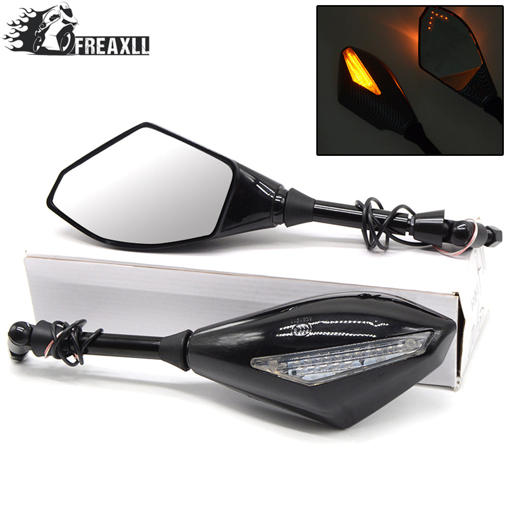 Motorcycle Rearview Mirrors With Turn Signal LED Light For Yamaha XMAX 530 TMAX530 T MAX 500