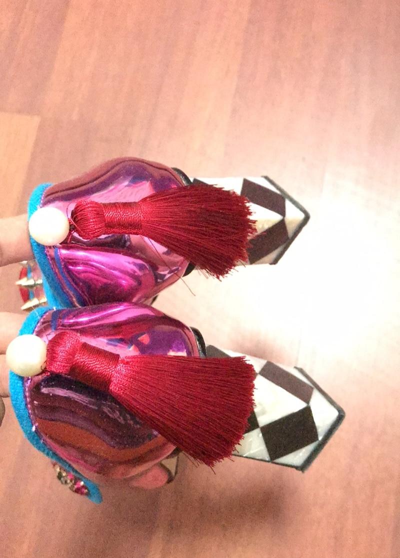 Damas Picture as De Bombas Boda Picture Remaches Cristales Cuero Tacón Grueso Mujer Espejo Alto Cuadrada As Zapatos Novia vdZaqwv