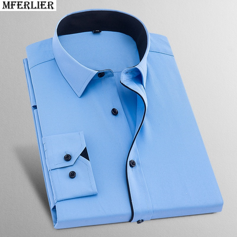 Men Shirt Long Sleeve Larger Size Big 8XL 10XL 7XL Cotton Autumn Black Shirts Business Office 14XL Formal Loose 42 44 48 Blouse