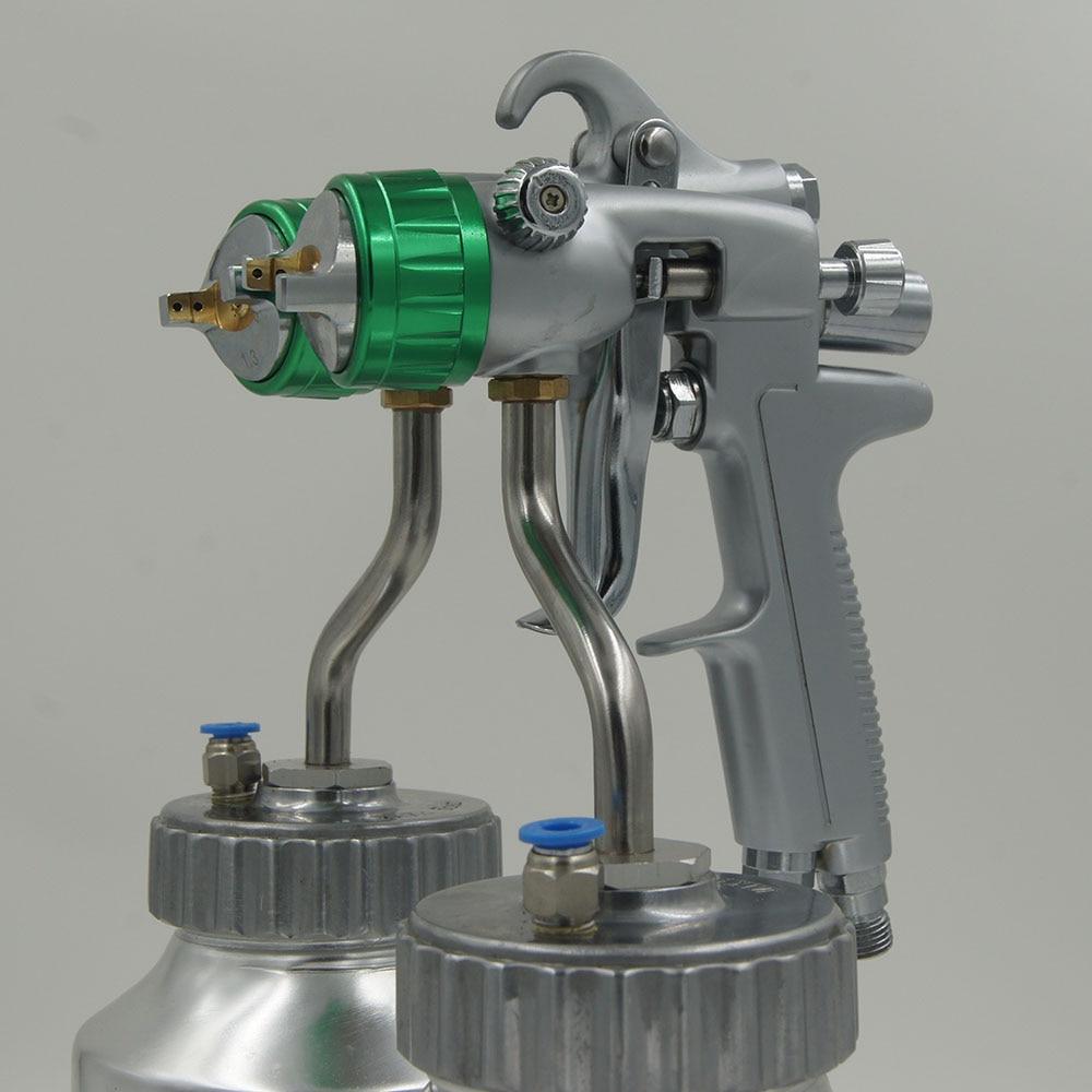 цена на SAT1200 pressure tank 2*1000ml paint gun spray guns hvlp dual nozzle spray paint air compressor
