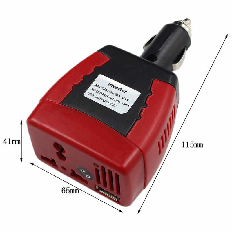 RED NEWEST USB 5V 0.5A Auto Car Charger Cigarette Lighter Power Supply 150W 12V DC To 110V AC Car Power Inverter Car Accessories