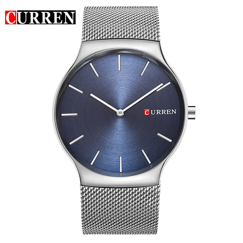 CURREN Watch Men Blue Steel Mesh Quartz-Watch Fashion Business Mens Watches Top Brand Luxury Waterproof Wristwatch Montre Homme montre homme doobo mens watches famous top brand luxury sports watch men quartz watch waterproof men clock business men watch