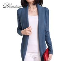 Spring Autumn Plus Size Slim Woman Outerwear Thin Sweater Coat Loose Long Sleeve Scarf Collar Cardigan