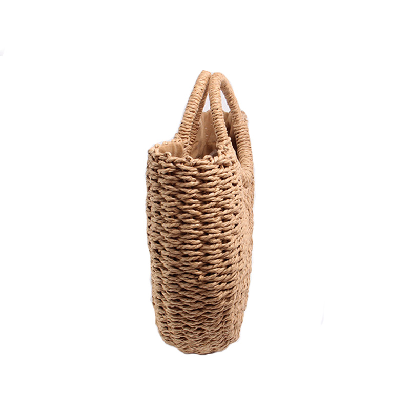 BRIGGS New 2018 Summer Beach Bag Hand Woven Straw Bags Fashion Women Casual Tote Large Capacity Shopping Bags Women Handbags 3